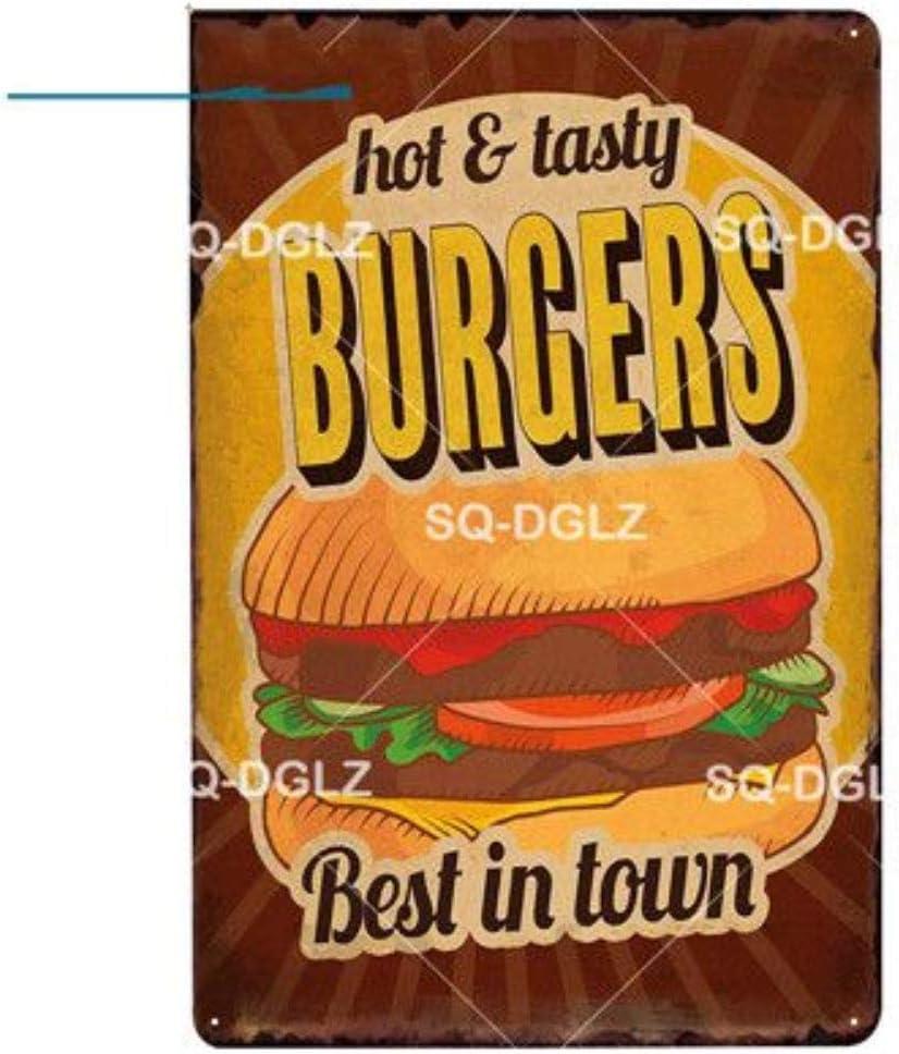 ShAwng 2 pcs Burgers en M/étal Signe Bar D/écoration Murale Donuts en /Étain Signe Vintage Tarte Aux Pommes Peinture Cr/ème Glac/ée Plaques Milkshakes Art Affiche 0871