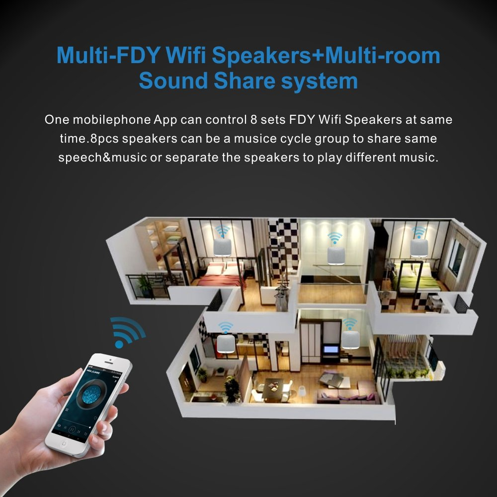 Bluetooth Speakers, FDY Multi-Room Wall-Mounted Wireless Audio Speaker with Wi-Fi Control/LED Nightlight/Subwoofer Stereo Surround Compatible for Apple & Android, Airplay and Spotify by FDY