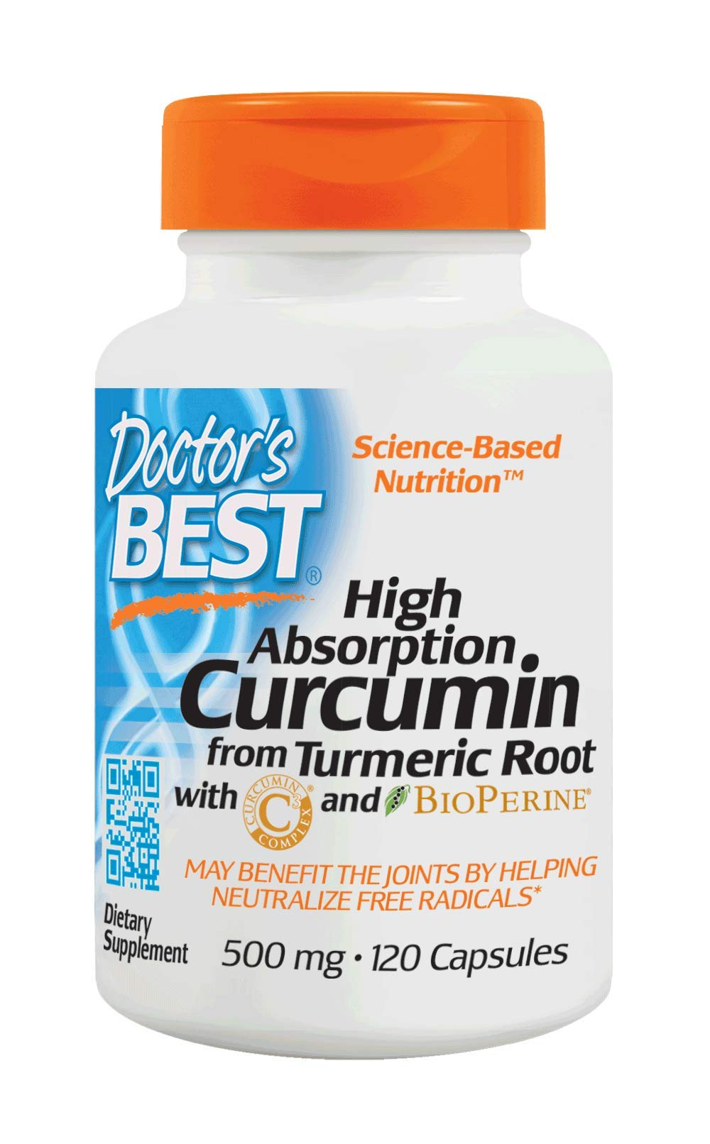 Doctor's Best Curcumin from Turmeric Root, Non-GMO, Gluten Free, Soy Free, Joint Support, 500mg Caps with C3 Complex & BioPerine, 120 Capsules