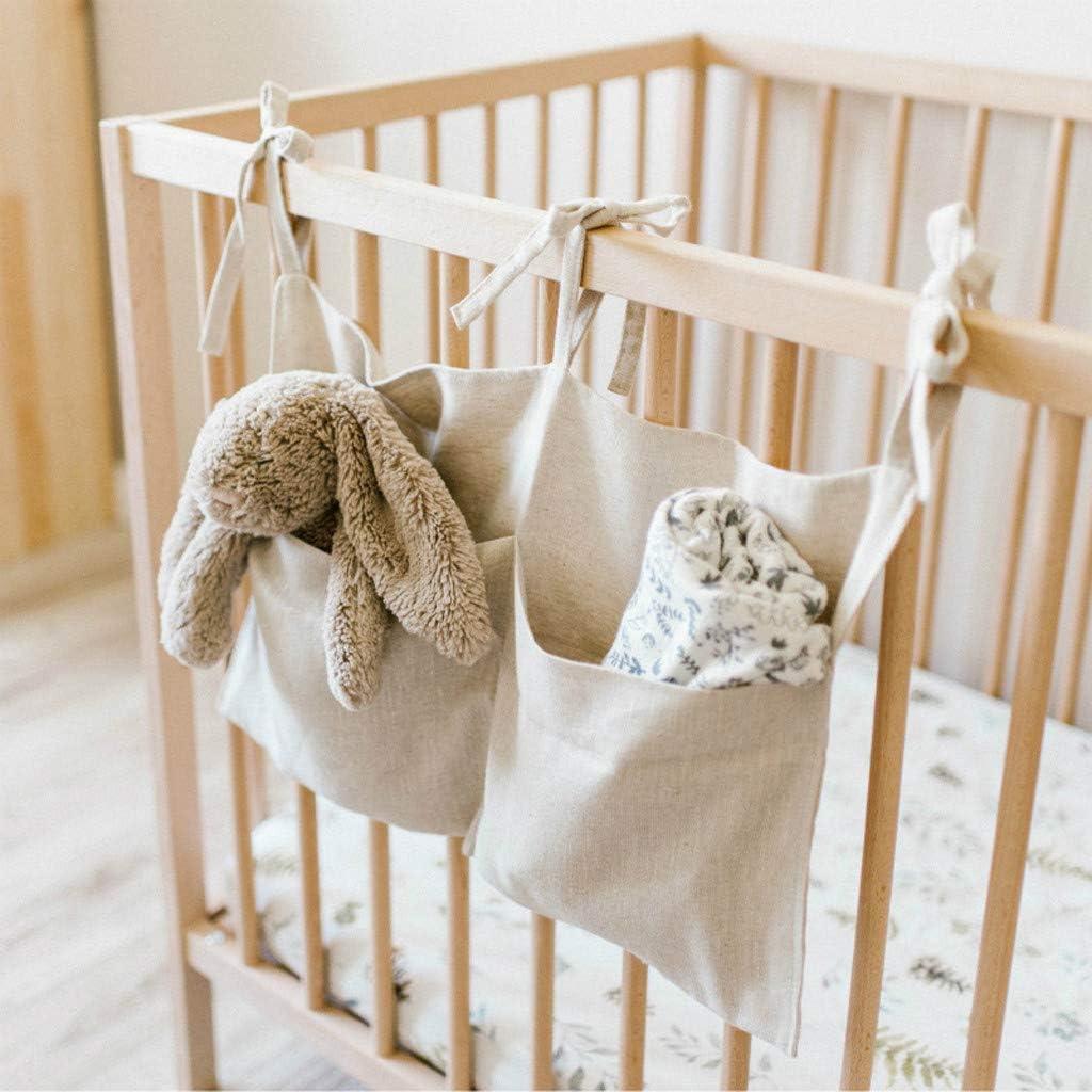 toddler bed pocket Crib Organizer baby Floor Bed hanging wall fabric Baby crib cot Rail frame nursery Decor Toy Storage Baby fabric pockets