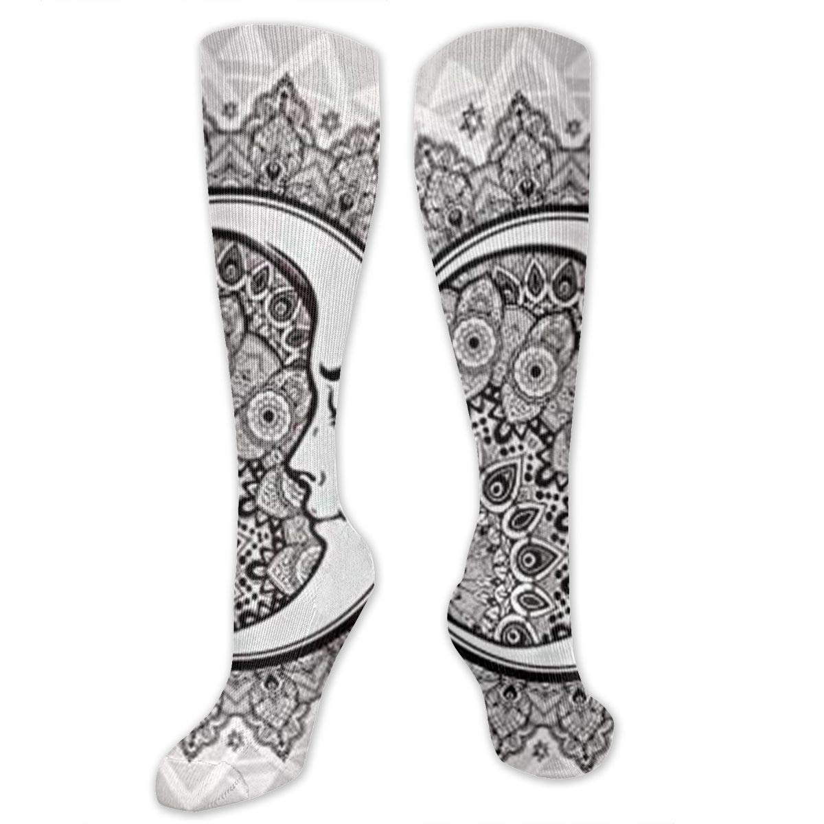 fca4037466 Ornate Crescent Moon Compression Socks Foot Long Stockings Anti Fatigue  Varicose Veins Socks for Men Women ...