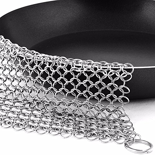 Elvoes Premium Cast Iron Cleaner, 8 x 8 Inch Original Stainless Steel Chainmail Scrubber with Drying Hook for Clean Cast Iron Skillet, Cookware, Pan, Wok and Griddle -