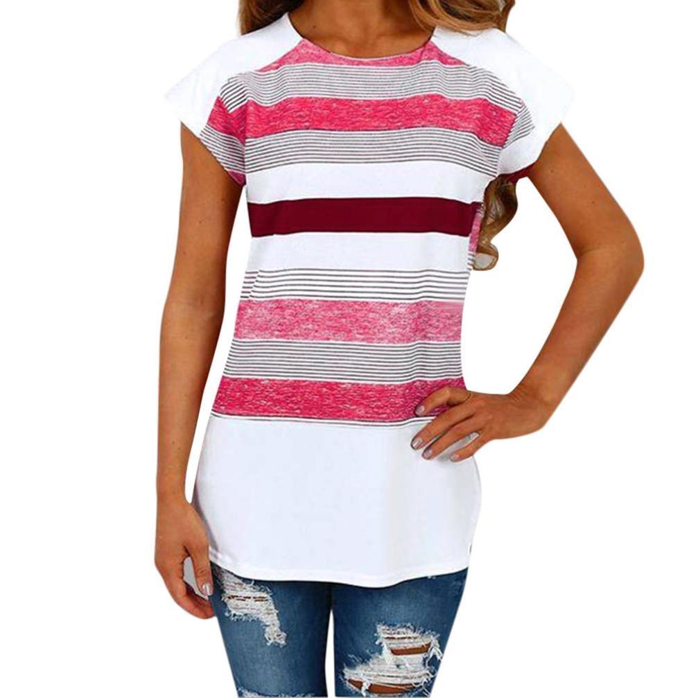 vermers HOT! Womens Tee, Short Sleeve Triple Color Block Stripe Shirt Casual Blouse
