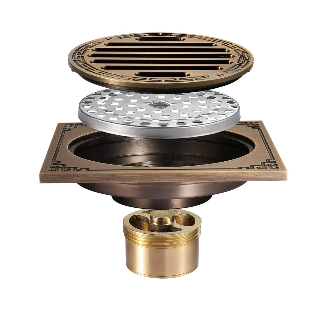 Pure Cupper Antique Floor Drain Tile Insert Square Shower Floor Drain 4-Inch Insect Proof, Anti-Backwater And Deodorant Floor Drain Anti-Clogging