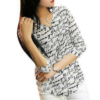 20c2308f1e3e6 Balai Women Chiffon Lapel V-Neck Blouse Printed Button Down Shirt ...