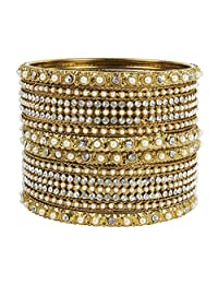 Glamorous Traditional Indian Bollywood Style Antique Gold Plated Polki Bangle Jewelry
