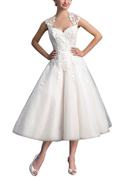 JAEDEN Mujer A-Line Tul Vestido de Novia al Ternero Vestido de Boda con aplicaciónes: Amazon.es: Ropa y accesorios