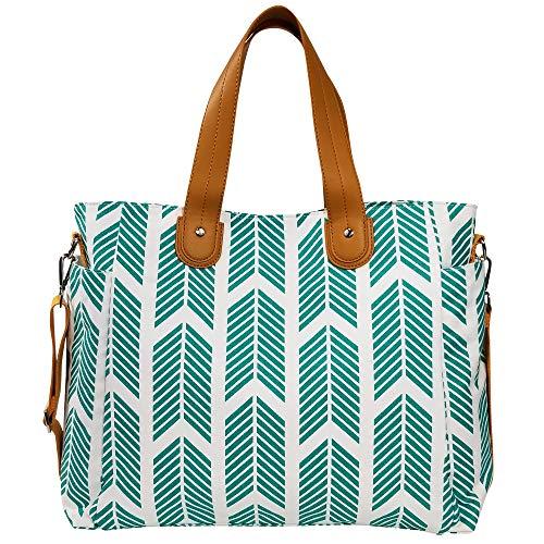 (Teal Arrows Weekender Tote Bag by White Elm (New Version) Canvas Vegan Leather & Water Resistant Lining)