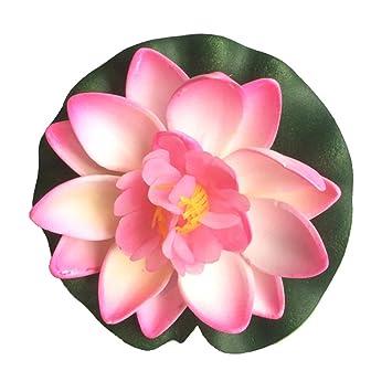 surejungs Acuario decorado con simulación Lotus, flotante estanque decoración, decoración de estanque agua Lily, espuma Lotus Flower: Amazon.es: Jardín