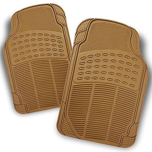 All Weather Heavy Duty Rubber Semi Pattern Beige Car Interior Front Floor Mats 2 Pieces Set Liner (Mats Front 2 Piece Auto)