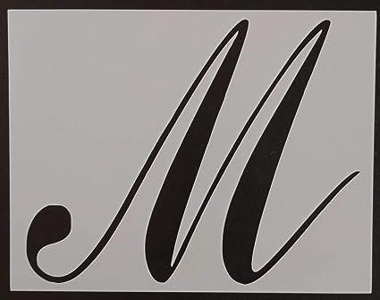 large big script cursive letter m 11 x 85 custom stencil fast