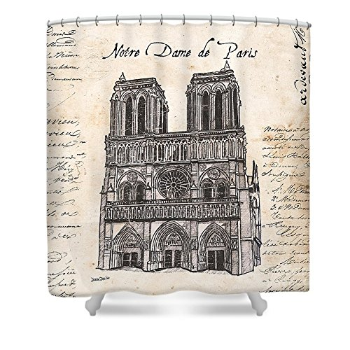 Pixels Shower Curtain (74'' x 71'') ''Notre Dame De Paris'' by Pixels