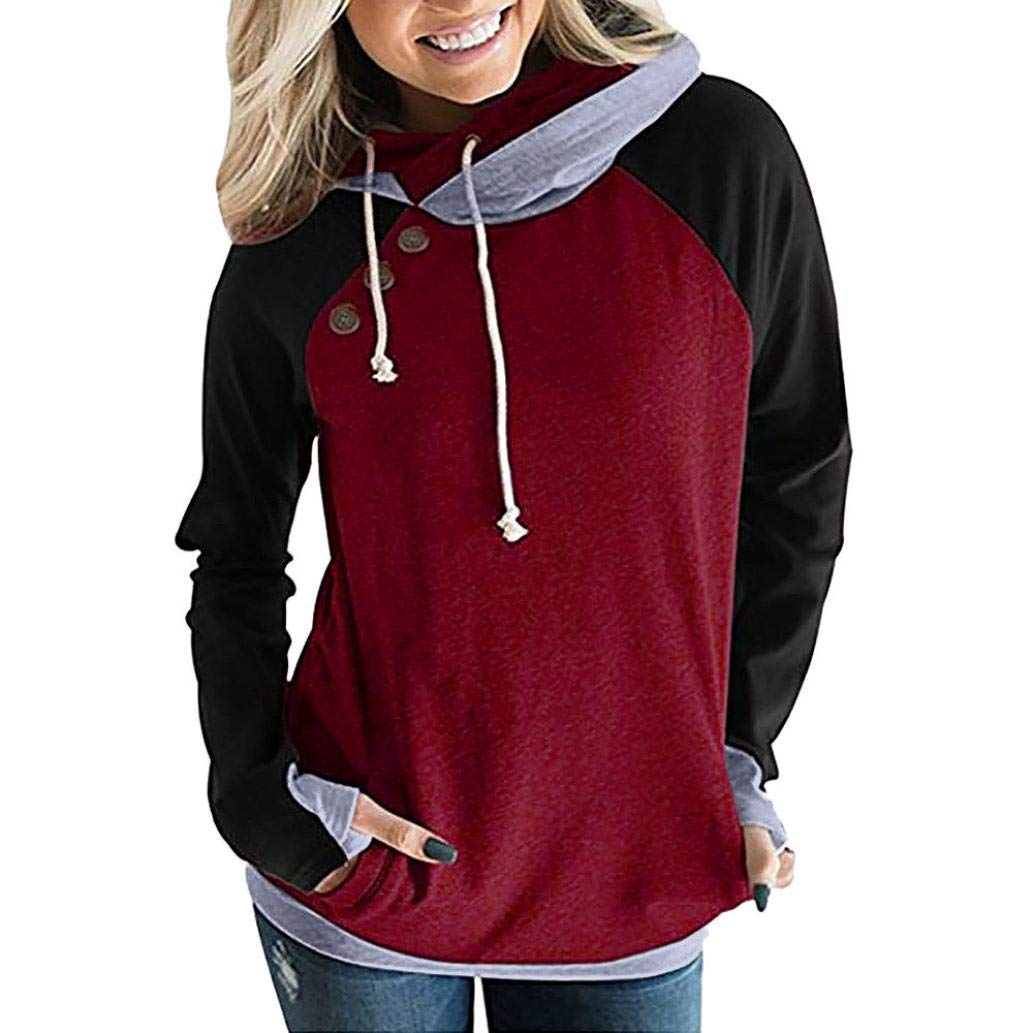 Anxinke Women Autumn Splicing Long Sleeve Buttons Hooded Sweatshirts (XL, Wine Red)