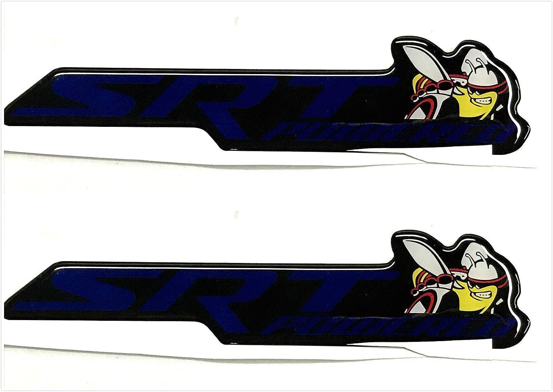 Gooogo Custom 2X SRT Powered Badge Scat Pack Super Killer Bee Emblem Fender Decklid For Challenger//Charger Blue
