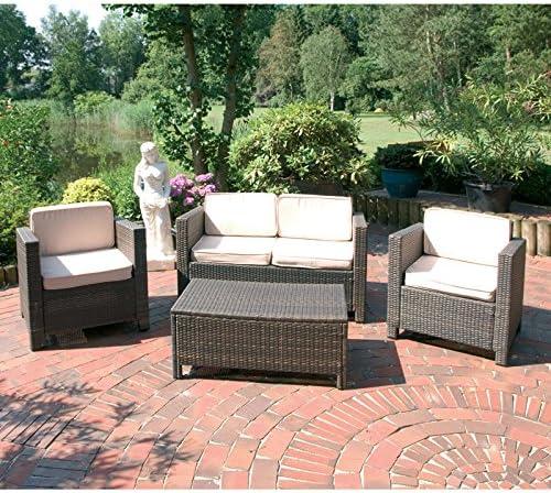 Lounge – Juego de 4 piezas en Coffee Jardín muebles de jardín mesa silla de jardín o terraza Muebles: Amazon.es: Jardín