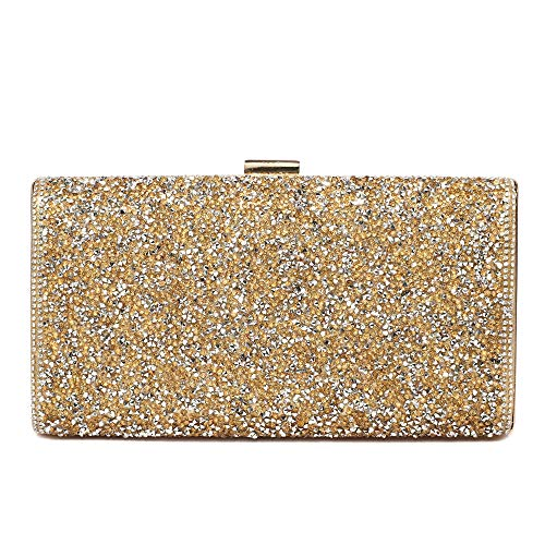 Womens Evening Clutch Bags Wedding Purse Bridal Prom Handbag Party Bag for Dance Bar (SZ6814 Gold)
