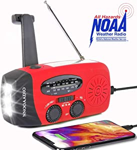 NNOOAADIO Emergency Weather Radio, Hand Crank Solar Battery Operated Survival NOAA AM FM Radio Portable with 3 LED Flashlight Kit, Built-in 1200mAh Power Bank & USB Charger