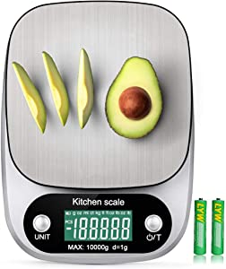 10kg/ 22lb Digital Kitchen Food Scale Rechargeable g/oz/ml/ct/kg/tl/fl:oz/lb:oz/lb Multifunction Stainless Steel 1g Accuracy Weight Gram Ounce Tare Function for Cooking Baking,USB&Batteries