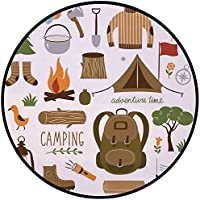Printing Round Rug,Adventure,Camping Equipment Sleeping Bag Boots Campfire Shovel Hatchet Log Artwork Print Mat Non-Slip Soft Entrance Mat Door Floor Rug Area Rug For Chair Living Room,Multicolor