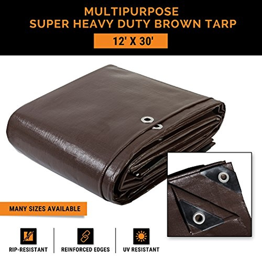 12' x 30' Super Heavy Duty 16 Mil Brown Poly Tarp Cover - Thick Waterproof, UV Resistant, Rot, Rip and Tear Proof Tarpaulin with Grommets and Reinforced Edges - by Xpose Safety