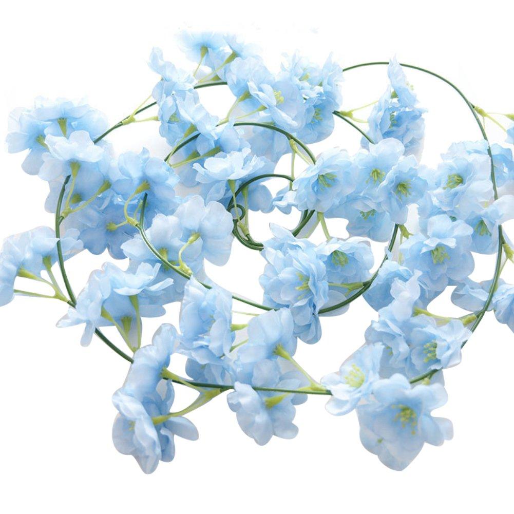 ywbtuechars 造花 桜の花 植物 ウェディングパーティー ホームデコレーション ホワイト ブルー 1230244-ywbtuechars-us B07GDQ9ZCN ライトブルー