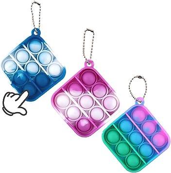 Simple Depressed Decompression Packs Mini Fidget Pop Toy Keychains Childrens And Adults Doll Toys Mini Push-Pop Bubble Fidget Sensory Toys