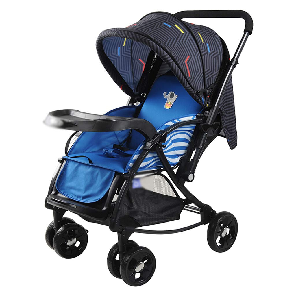 ベビーストロワー 子供用カート軽量ベビーカー二方向ショックアブソーバリクライニングは四輪を折りたたむことができます (色 : 青)  青 B07GSKPF9Z, 対馬市 21dea857