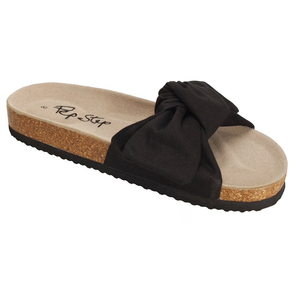 Pepstep Slide Sandals for Women/Cork Sole/Canvas Knot Bow/Womens for Slides/Sandals for Bow/Womens Women B0719JR7KG 8.5 M US Black 2bbae4