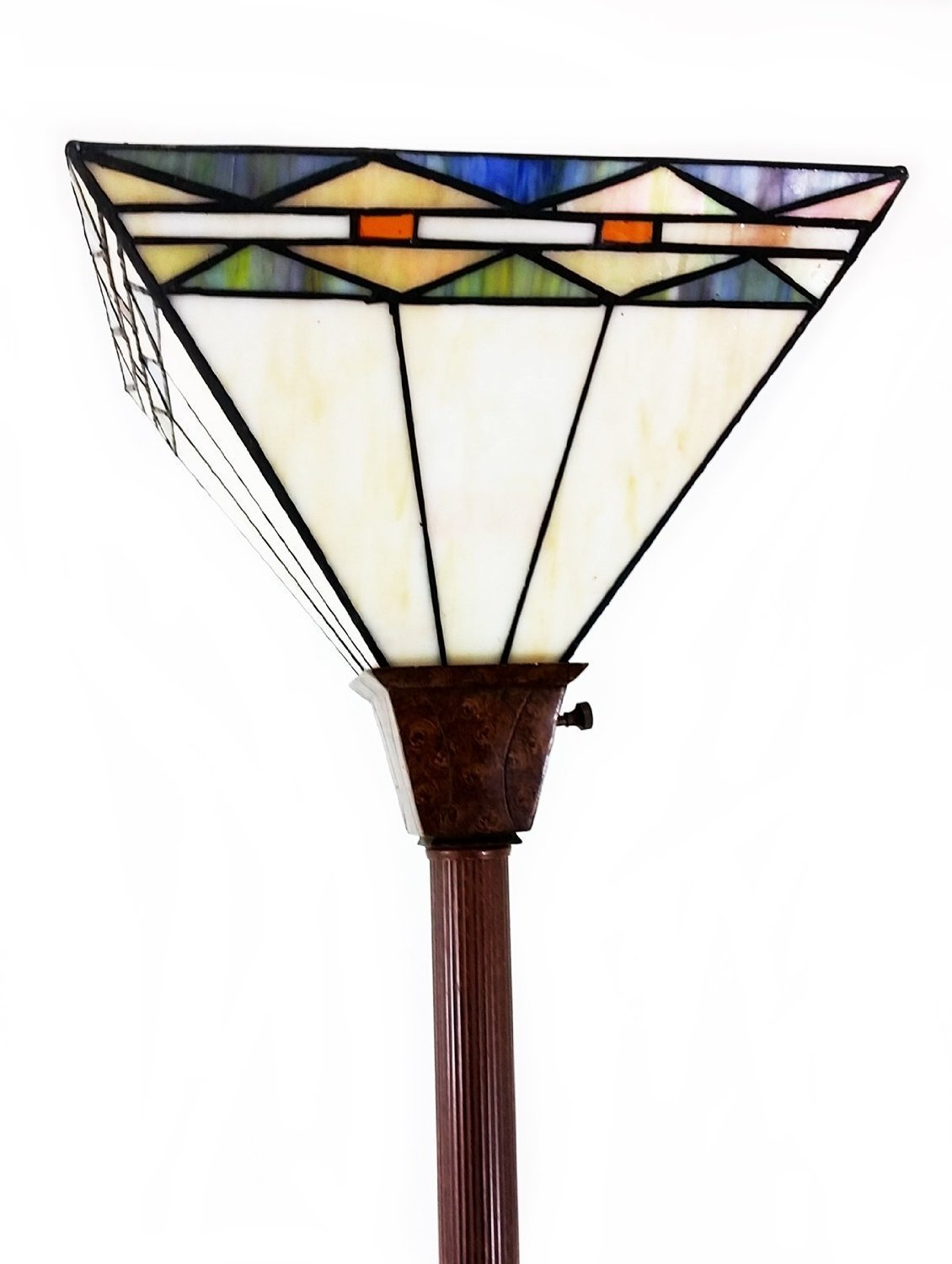 1 Tiffany Noir Mission Style Torchiere Floor Lamp with Vintage ...