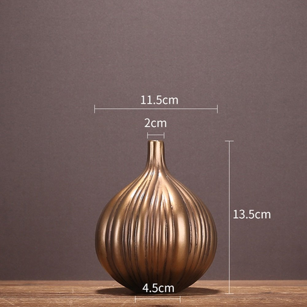 BWLZSP (without flower) American country European garlic onion vase narrow-necked ornaments home crafts desktop flower LU618415 (Color : S 1PCS)
