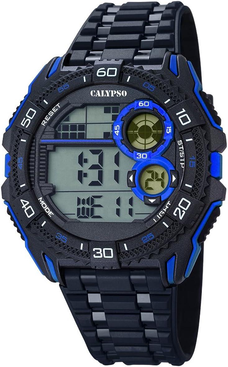 Calypso Hombre Reloj Digital con Pantalla LCD Pantalla Digital Dial y Correa de plástico en Color Negro K5670/8