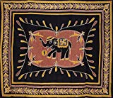 Lucky Batik Elephant Tapestry Cotton Bedspread 104'' x 88'' Full Brown