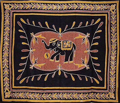 India Arts Lucky Batik Elephant Tapestry Cotton Bedspread 104