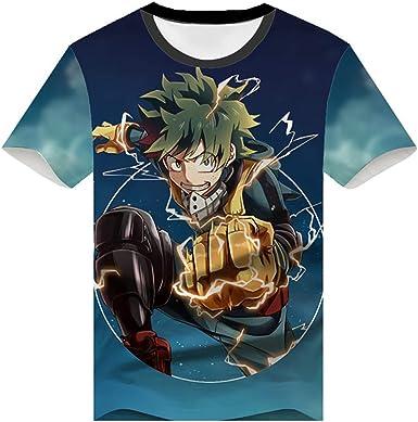 Verano Ligero Hombres Camisa de te Floja, mi héroe Academia Unisex con Cuello Redondo de Manga Corta de la Camiseta, Animado Impreso Casual Top,A,S: Amazon.es: Ropa y accesorios