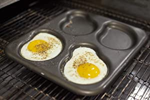 LloydPans Egg Pan, 9.5 x 11 Inch 4-Cavity Irregular Egg Pan, Pre-Seasoned PSTK