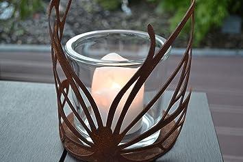 Windlicht Schmetterling Glas Kerze Rost Edelrost Tischdeko Geschenk