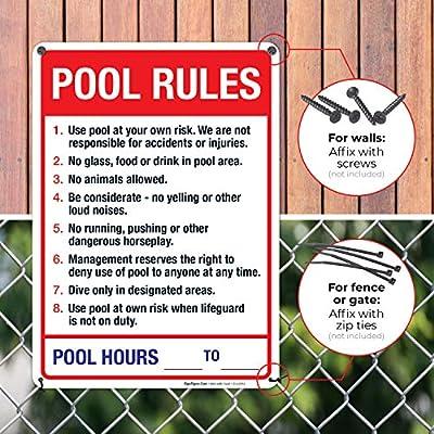 Amazon.com: Signo de reglas de piscina, cartel de piscina de ...