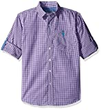 U.S. Polo Assn. Little Boys' Toddler Long Sleeve Single Pocket Sport Shirt, Sea Violet Plaid, 3T