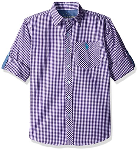 U.S. Polo Assn. Big Boys' Long Sleeve Single Pocket Sport Shirt, Sea Violet Plaid, 10/12 (Sport Shirt Plaid Pocket)