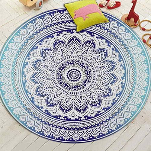 JONARO Bohemian Style Mandala Pattern Round Carpet Non-Slip Bath Mat Soft Fluffy Coral Velvet Area Rug for Living Room Decor