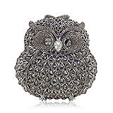 Rhinestone Owl Purse Clutch Handbag Prom Wedding Party Evening Bag for Women Crossbody Shoulder Bag (Dark Silver)