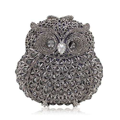Rhinestone Owl Purse Clutch Handbag Prom Wedding Party Evening Bag for Women Crossbody Shoulder Bag (Dark Silver) by IBELLA