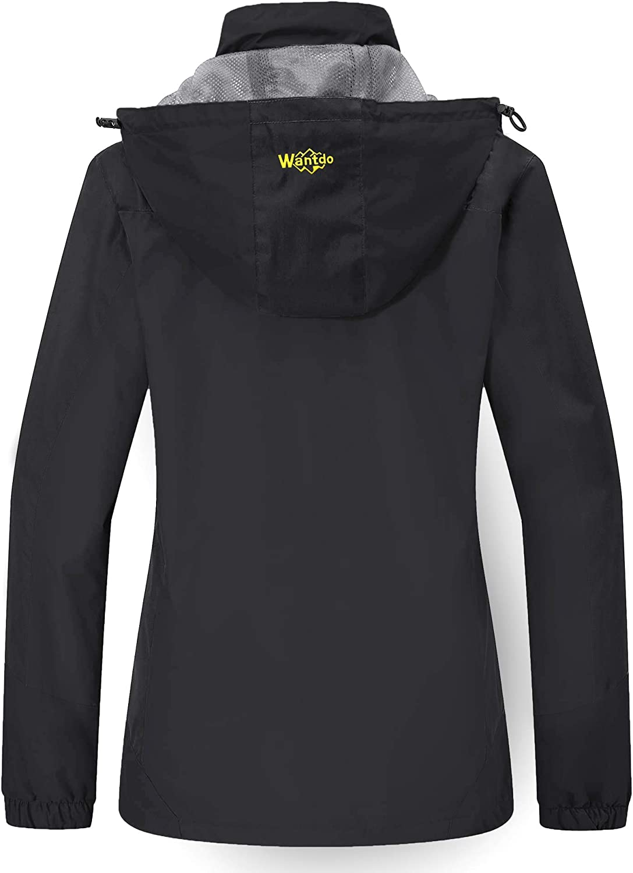 Wantdo Women's Breathable Hiking Rain Jacket Lightweight Windproof Raincoat