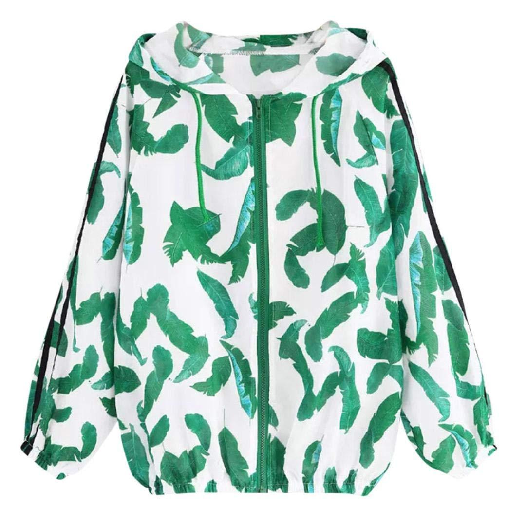 SCSAlgin Blouse Women Long Sleeve Thin Skinsuits Hooded Zip Leaves Print Sport Coat (Green, XL)