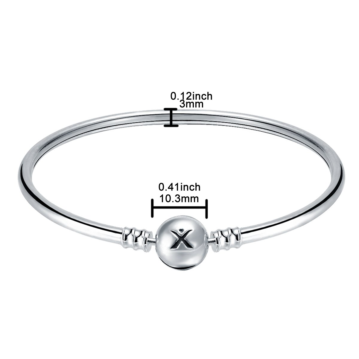 Changeable 925 Sterling Silver Women Charms Bracelet (Smooth Bangle) 19CM by Changeable (Image #2)