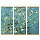 3 Pieces Impressionism Almond Blossom Decoration Wall Art Pictures Canvas Wooden Scroll Paintings For Living Room Home Decor Ready To Hang