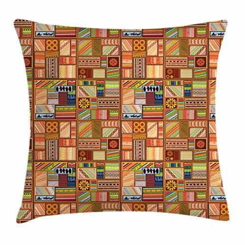 Dick Sidney Primitive Throw Pillow Cushion Cover, Legacy of the Northern People Scandinavian Culture Motifs Ethnic Composition, Decorative Square Accent Pillow Case ()