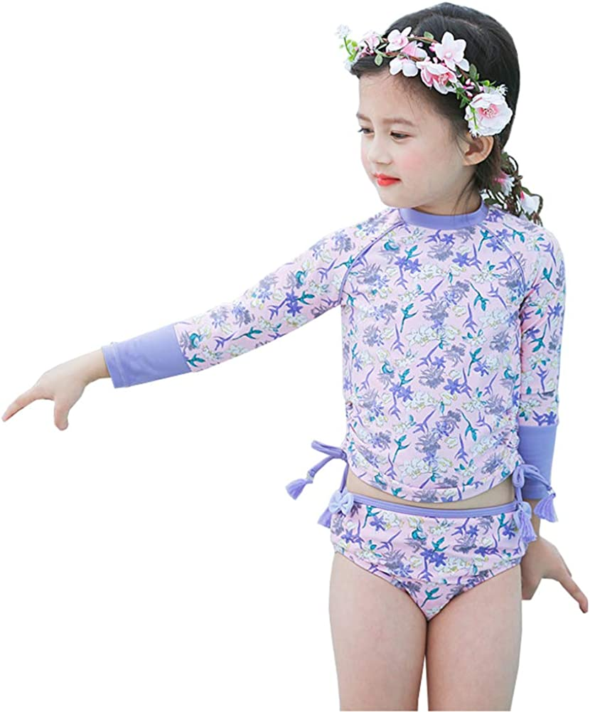 Baby Toddler Girls Two Pieces Swimsuit Set UV Sun Protective Flowers Bathing Suit Swimwear UPF 50+