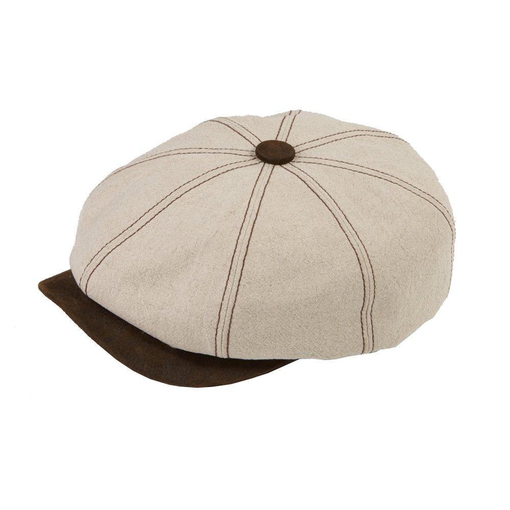 Dasmarca Peaky Blinders Summer Linen Bakerboy Newsboy Cap - Lucca Natural XL