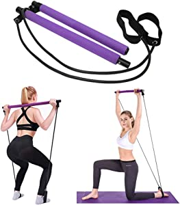 Pilates Bar Kit with Resistance Bands Exercise Stick, Home Fitness Workout Equipment for Women